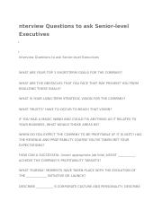 Interview Questions to ask Senior