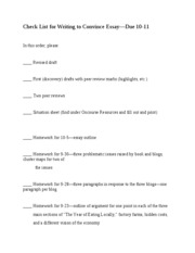 Check List for Writing to Convince Essay