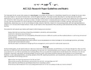 ACC 312 Research Paper Guidelines and Rubric