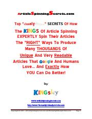 Article Spinning Secrets