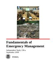 is230a-Fundamentals of Emergency Management 2.doc