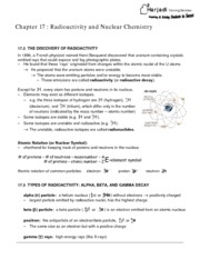 Chapter17 Radioactivity and Nuclear cHEMISTRY