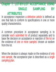Ch 07 - Lot-By-Lot Acceptance Using Single Sampling By Attributes.ppt
