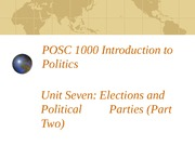 POSC 1000 Elections and Parties (Part 2)