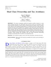 McGuire et al. 2014. TAR. Dual Class Ownership and Tax Avoidance..pdf