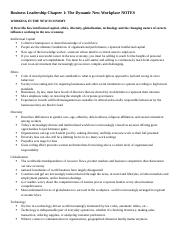Business Leadership Chapter 1 NOTES