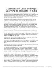 Questions on Coke and Pepsi Learning to compete in India