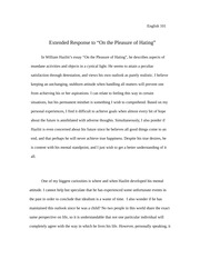 "Extended Response to ""On the Pleasure of Hating"""