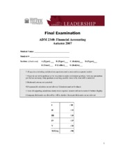 ADM 1340 Financial Accounting