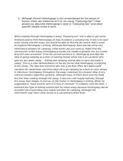 Camping out hemingway essay resume af den blomstrende have
