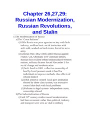 Chapter 26,27,29- Russian Modernization, Russian Revolutions, and Stalin