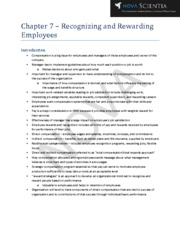Chapter 7 - Recognizing and Rewarding Employees