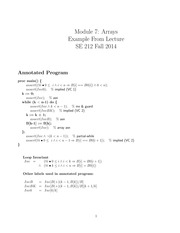 SE 212 Fall 2014 Arrays Problems Exercises Solutions