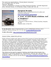 A reset of NATO–Russia relations