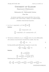 Answers to Linear Algebra Class Test 2011 (solutions)