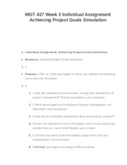 MGT 437 Week 2 Individual Assignment Achieving Project Goals Simulation