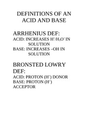 DEFINITIONS OF AN ACID AND BASE