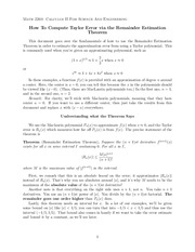 How To Compute Taylor Error via the Remainder Estimation Theorem