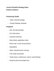 Launch Checklist Strategy Notes
