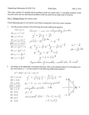 Spring 2014 Final Exam Solutions