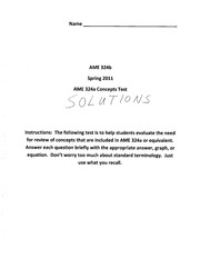 SolutionsAME324a Concepts Review Test