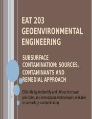 f. EAT 203 GEOENVIRONMENTAL ENGINEERING - SUBSURFACE CONTAMINATION