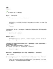 Accounting Fundamentals Chapter 2 Homework and Quiz