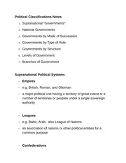 Political Classifications Notes