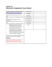 Unsw assignment cover sheet