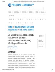 Philippine EJournals_ A Qualitative Research Study on School Absenteeism Among College Students.pdf