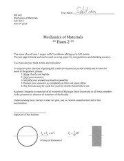 ME222Exam 2 solutions
