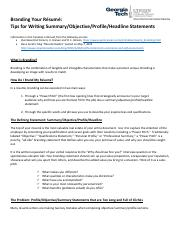 ECE+3005+Branding+Your+Resume+handout--tips+for+writing+objective+summary+profile+power+pitches