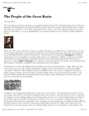 "The People of the Great Basin â€"" North American Indians"