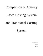 ABC vs Traditional Costing Paper