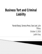Business Tort and Criminal Liability Persentation (1)