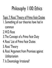 1100 FA14 - Topic 7 - Ross' Theory of Prima Facie Duties