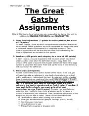 The Great Gatsby Assignments.doc