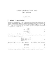 PHYS 1CP Spring 2015 Problem Set 3 Solutions