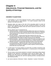 Chapter 4 Adjustments, Financial Statements, and the Quality of Earnings
