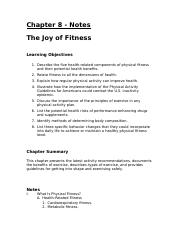 Chapter 8 - Joy of Fitness - Notes