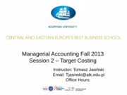 Managerial Accounting - Target Costing