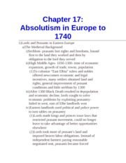 Chapter 17- Absolutism in Europe to 1740