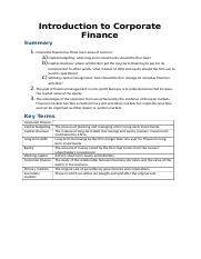 Lecture 1- Introduction to Corporate Finance