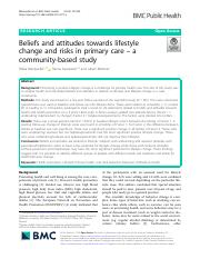 Beliefs and attitudes towards lifestyle change and risks in primary care – a community-based study.p