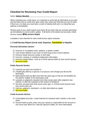 Checklist for Reviewing Your Credit Score Outline