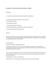 MA2000 - Learning Plan 1 - Activites