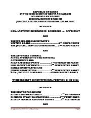 NAIROBI HIGH COURT (5 judge)Judicial review 295 of 2012 Hon Lady Justice Jean Gacheche- vs- JMVB & A