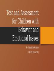 Test and Assessment for Children with Behavior and