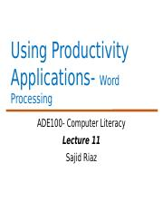 ADE Lecture 11-Word Processing