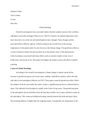 Cause and Effects of Global Warming (MLA).docx